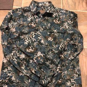 Zara Men's long sleeve woven floral shirt